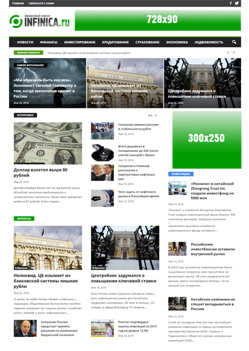 Схема расположения баннеров на сайте Infinica.ru