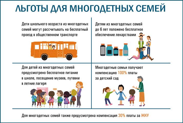 Льготы многодетным семьям в 2019 году в Московской области